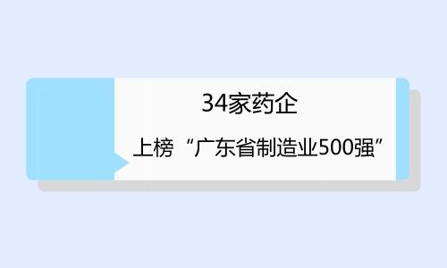 """34家药企上榜""""广东省制造业500强"""""""