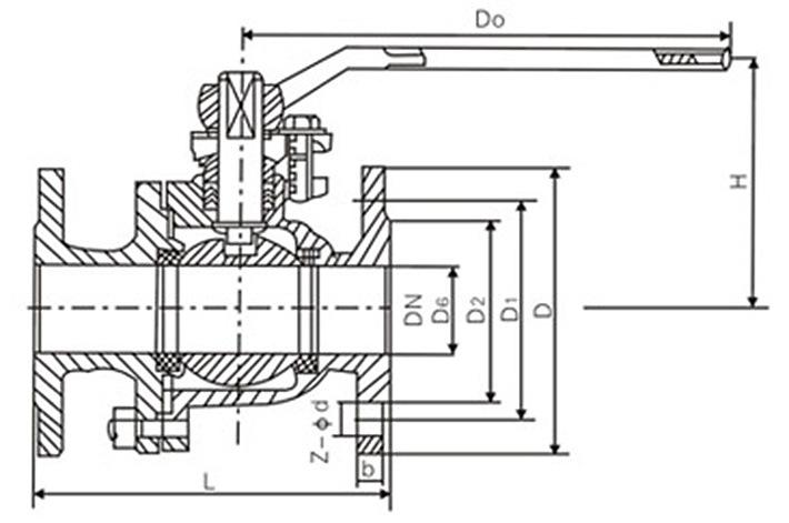 q41f高平台法兰球阀结构图